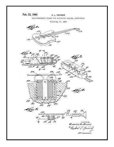 Electric Guitar Patent Print Black Ink on White with Border