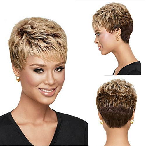 (GNIMEGIL Short Blonde to Brown Synthetic Wig Wavy Hair Wigs for Women Natural Looking Heat Resistant Wigs with Wig)