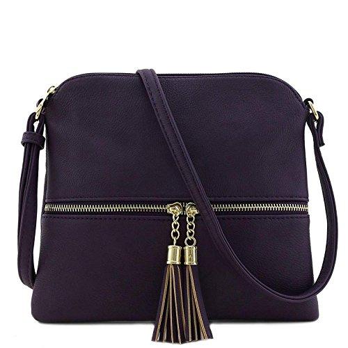 (Lightweight Medium Crossbody Bag with Tassel (Purple))
