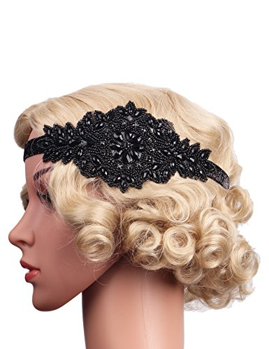 [Flapper Girl Art Deco 1920s Vintage Flapper Headband Headpiece Accessories (Black)] (1920s Flapper Hairstyles)
