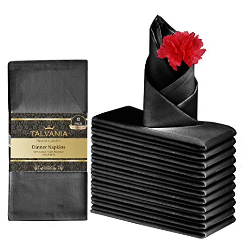 Talvania Cloth Dinner Napkins - 12 Pack Luxuriously Soft & Hotel Quality Cotton Napkins, Brilliant Fabric Napkins (18