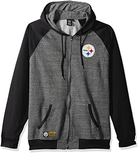 NFL Men's Pittsburgh Steelers Full Zip Fleece Hoodie Sweatshirt Jacket Contrast Raglan, Large, Gray