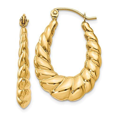 14K Yellow Gold 4.00MM Scalloped Oval Shrimp Hoop Earrings ()