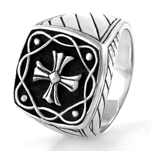 925 Sterling Silver Celtic Cross Ring, Size 9 - Cross Sterling Silver Biker Ring