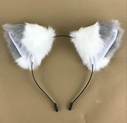 Happylifehere Long Fur Cat Fox Ears Headband Hairband Lolita Cosplay Costume Halloween Kitty Fancy Dress Gray with White]()