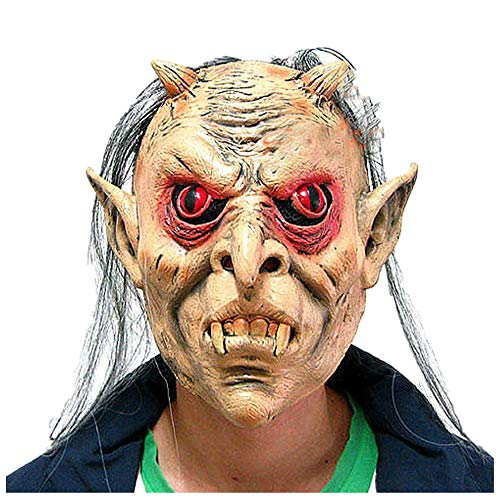 WeiYun Scary Latex Monster Mask Lifelike,Walking Horror Ghost Devil Evil Face Mask,Ugly Mask Cosplay Costume Fancy Party Favors for Halloween,Movie Props Green Latex Horn Blame Mask 1Pcs for $<!--$6.69-->