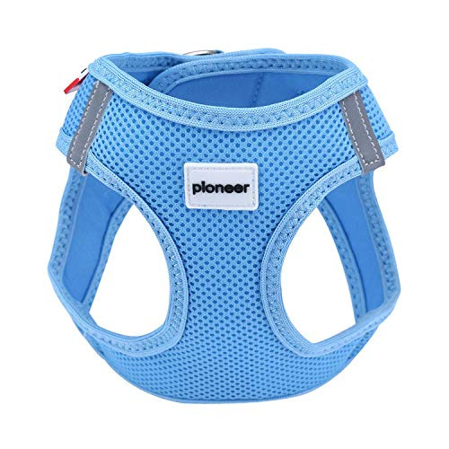- Escape Proof Breathable Kitten Puppy Cat Harness Reflective Walking Comfort Soft Mesh Small Dog Pet Padded Vest (Small, Blue)