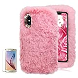 For Samsung Galaxy S6 Soft Warm Plush Case [with Free Screen Protector],Funyee Artificial Fluffy Villi Wool Cute Plush Soft Silicone TPU Case for Samsung Galaxy S6 with Shiny Diamond,Pink
