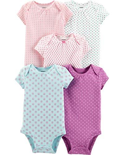 (Carter's Baby Girls 5 Pack Bodysuit Set, Floral, Newborn)