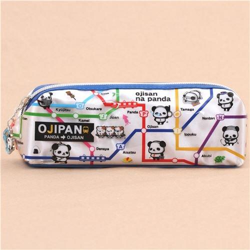 cute blue silver Ojipan panda train map shimmery pencil case from Japan B01IHFK0AO