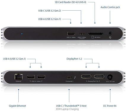 CalDigit USB-C HDMI Dock USB C 10Gb Dual HDMI 2.0b Thunderbolt 3 3.5mm Audio for Thunderbolt and USB-C Computers UHS II SD Card Slot 2 x HDMI 2.0 USB A x 3 LAN 94W Laptop Charging