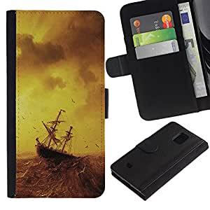 KingStore / Leather Etui en cuir / Samsung Galaxy S5 Mini, SM-G800 / Mar Tormentoso pintura velero Ocean Birds
