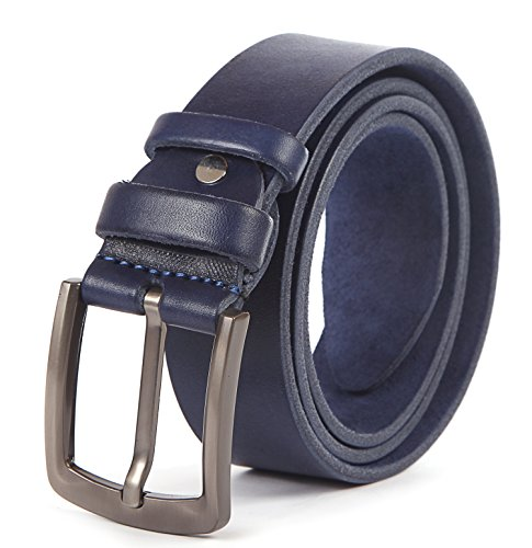 Vinyl Waist Belt - Heavy Duty Leather Belt - 100% Thick Solid Cow Leather. Durable and strong. (Large>>38-42 waist, Blue. 1.5