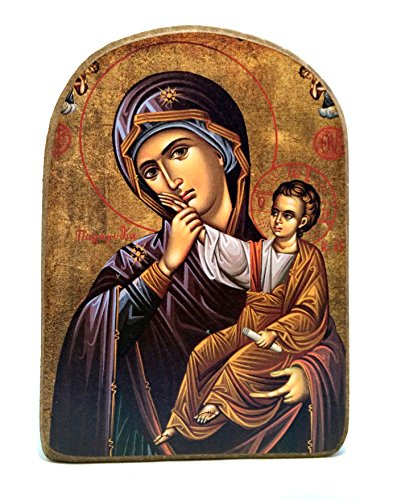 Handmade Wooden Greek Christian Orthodox Mount Athos Icon of Virgin Mary /Mp2