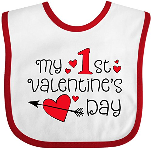 Inktastic - My First Valentines Day red Hearts and Baby Bib White/Red 2e282