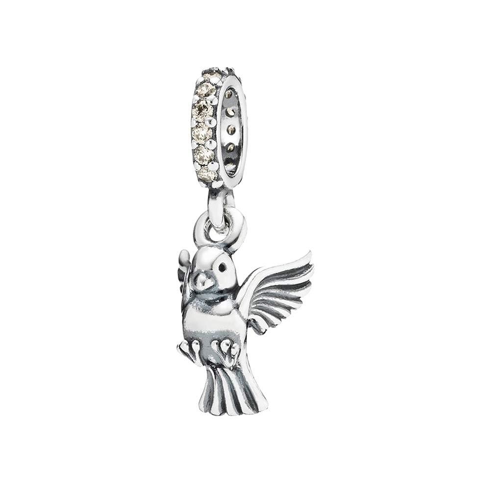 Parrot bird dangle charm bead for silver European charm bracelet or necklace