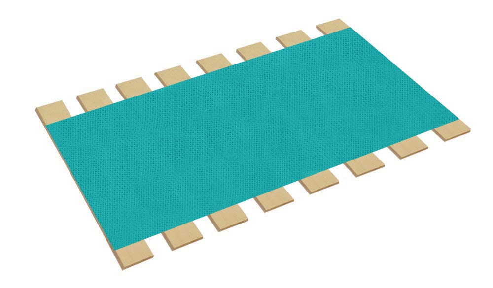 The Furniture Cove Twin Size Bed Slats Boards Wood Foundation Turquoise Burlap Fabric-Help Support Your Box Spring Mattress-Made in the U.S.A.! (41'' Wide)
