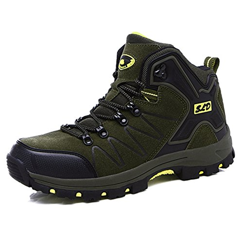 Sports Tracing Couple Women's Climbing BERTERI Leather Hiking Green Men's Backpacking Anti and Outdoor Slip Shoes wX1wqaP
