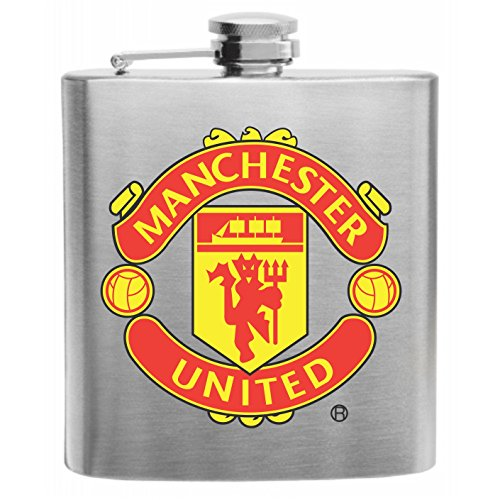 Manchester United Football Soccer Club Stainless Steel Hip Flask 6oz Gift