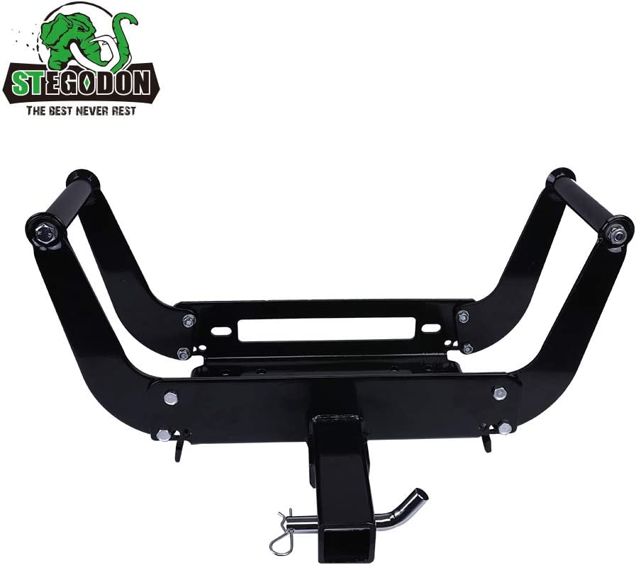 STEGODON Winch Mounting Plate Winch Cradle Mounting Bracket 8000lbs-13000lbs Capacity Foldable Bracket for Truck Trailer ATV 2 Hitch Receiver 4WD