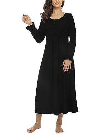 046aef5806 Suzicca Women's Nightgown Cotton Pajama Nightwear Long Sleeve Vintage  Sleepwear Lounge Dress Black X-Small