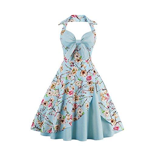 VERNASSA 50s Retro Vestidos del Coctel Retro de los Años 1950 de Halterneck de Las Mujeres, Halter Polka Dots Audrey Dress Retro Cocktail Dress 1368a-azul