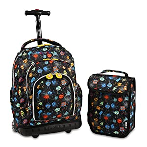 J World New York Boys' Lollipop Rolling Lunch Kid's Backpack with Self-Magnetic Sparkling Wheel and'Free'Lunch Bag, Party Mobs, One Size