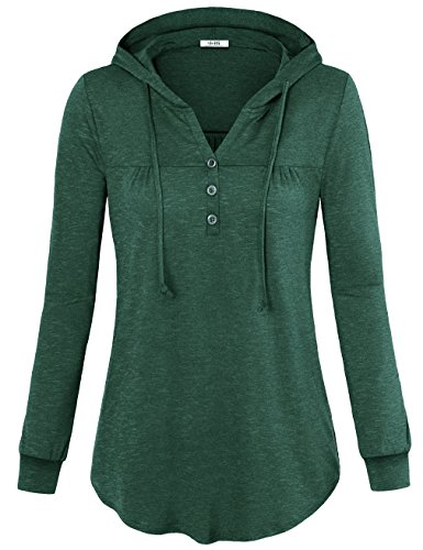 Vivilli Sweatshirt For Fall Hoodies, Ladies Long Sleeve T Shirt V Neck Pullover Sweater For Women Hooded Sweatshirt X-Large Green