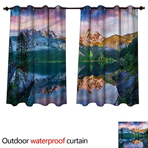 (cobeDecor Mountain Outdoor Balcony Privacy Curtain Gosausee Austrian Alps W63 x L63(160cm x 160cm))