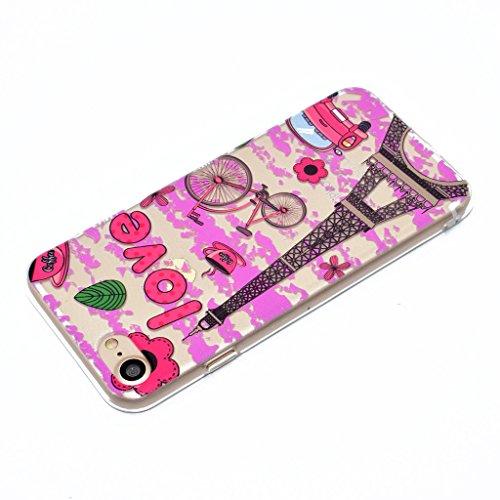 Coque pour iPhone 7 Case , ZXLZKQ iPhone 7 Housse Clair Transparente Anti Scratch Etui Souple TPU Silicone Back Protection Tour Eiffel Amour Rose Coque pour Apple iPhone 7 4.7 Pouce
