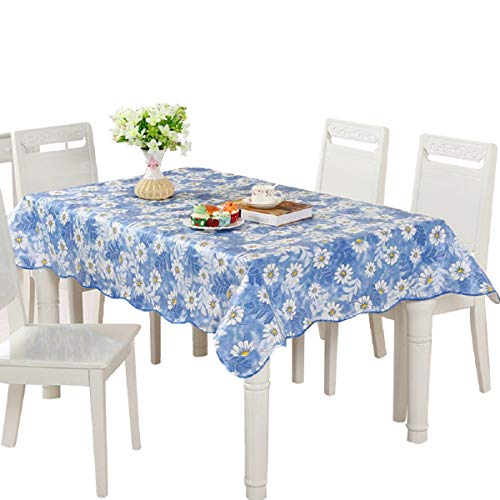 Uforme Yollow and White Daisy Blossom Flower Table Cloth PVC Sturdy with Light Blue Background Fashion Table Cover with Soft Flannel Back, 60 Inch By 90 Inch