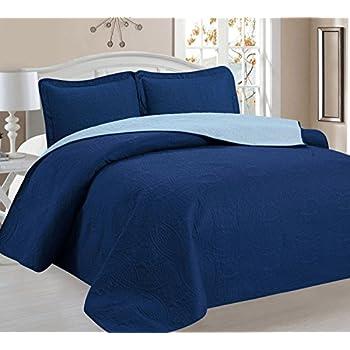 Amazon.com: Home Sweet Home Victoria Design Reversible 3 PC Quilt ... : navy quilt bedding - Adamdwight.com