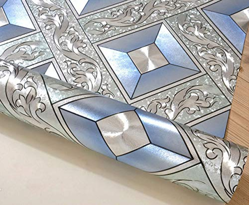 QIHANG Luxury Silver Foil Mosaic Square Lattice Background Flicker Wallpaper Gold Leaf Wallpaper Modern Roll/hotel Ceiling/decorative Wallpaper Roll Silver&Blue Color 1.73' W x 32.8' L=57 sq.ft by QIHANG (Image #5)