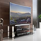 Fitueyes Curved Tempered Glass TV Stand Suit for up to 60