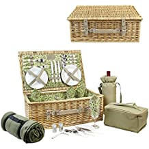 HappyPicnic Picnic Basket for 4, Nature Wicker Picnic Hamper,Willow Picnic Set with Wine Bag, Cooler Tote, Blanket and Tableware (Beige PU)