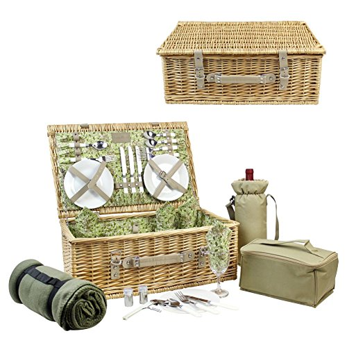 HappyPicnic Picnic Basket for 4, Nature Wicker Picnic Hamper,Willow Picnic Set with Wine Bag, Cooler Tote, Blanket and Tableware (Beige PU) (Picnic Basket Wicker Wine)