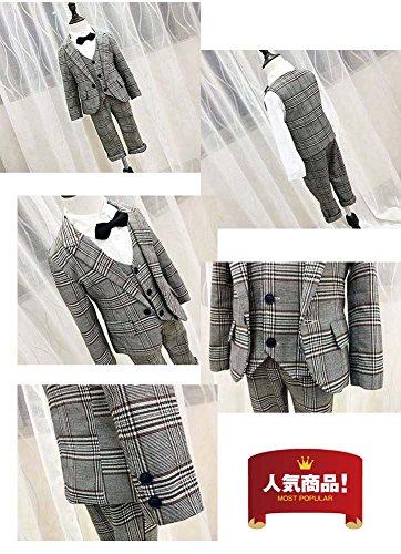 503e695166314 男の子 ジャケット キッズ 子供 結婚式 フォーマル 子供服チェックスーツ 子供タキシード 4点セット