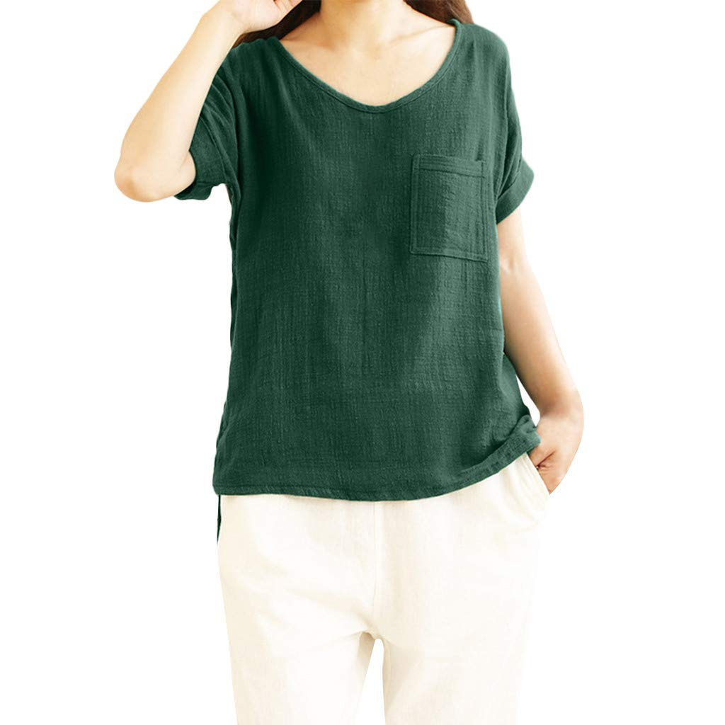 BB67 Women Casual Tops, O-Neck Short Cuffed Sleeve Solid T-Shirt with Pocket Green