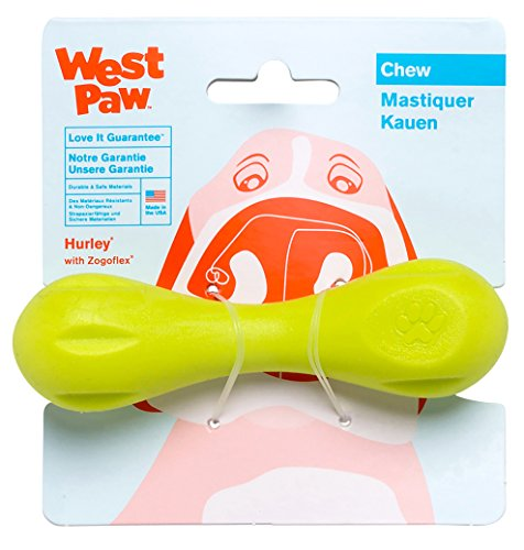 West Paw Zogoflex Hurley Durable Dog Bone Chew Toy for Aggressive Chewers, 100% Guaranteed Tough, It Floats!, Made in USA, X-Small, Granny Smith