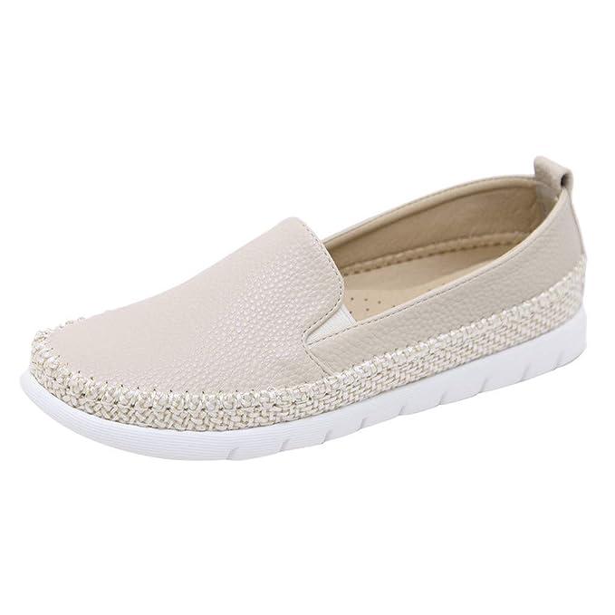 Bestow Calzado Casual de Mujer, Cuerda de cáñamo, tamaño Grande, Cabeza Redonda, Mocasines cómodos Perezosos Individuales Zapatos de Guisantes: Amazon.es: ...