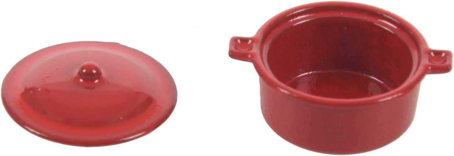 1//12 Miniatur Küchenutensilien rot Auflauf Topf w Deckel Puppenhaus Dekor