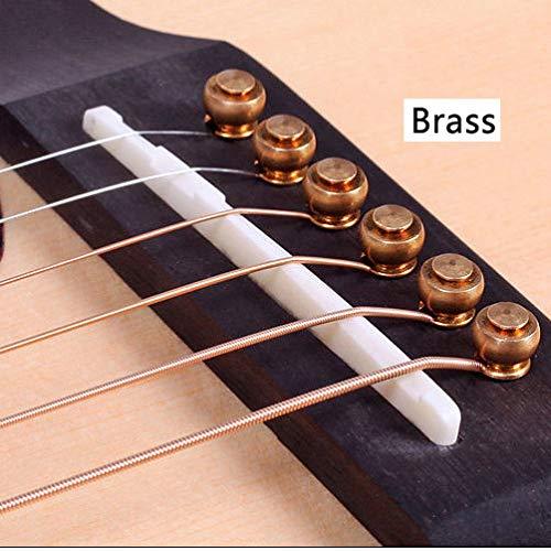 FidgetGear A set 6pcs Solid Brass Metal Guitar Pins For Acoustic Guitar Extend Tenuto