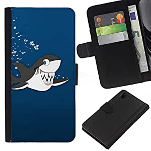 """[Neutron-Star] Modelo colorido cuero de la carpeta del tirón del caso cubierta piel Holster Funda protecció Para Sony Xperia Z1 L39 [Dientes Dibujo Tiburón Ballena orca linda de la historieta""""]"""