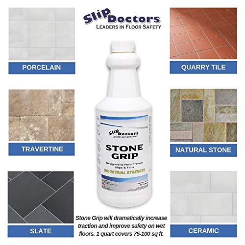 Stone Grip Industrial Non-Slip Floor Treatment for Tile and Stone to  Prevent Slippery Floors  Indoor/Outdoor, Residential/Commercial, Works in  Minutes