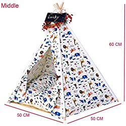 Gaorui Pet Teepee Dog Puppy Cat Bed Portable Dog Tents Pet Houses with Cushion