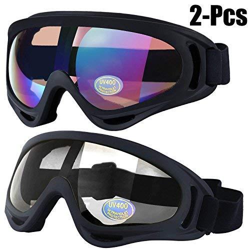 Outgeek Maschere da sci, occhiali di Skate 2-Pack con UV 400 protezione antivento e antipolvere per Snowboard moto biciclette