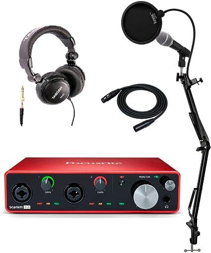 Focusrite Scarlett 4i4 3ª generación 4 x 4 interfaz de audio USB con micrófono, auriculares, soporte Knox Studio, cable XLR y filtro Pop (6 artículos): Amazon.es: Instrumentos musicales