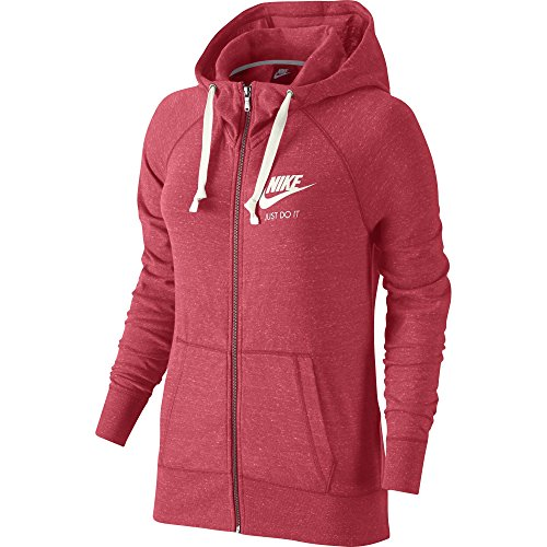 Nike Womens Gym Vintage Full Zip Hooded Sweatshirt Ember Glow/Sail 726057-850 Size Medium