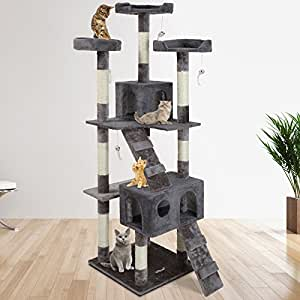 Leopet Rascador Rascador (altura aprox 175 cm) Gatito Gato que juega Climbing Centre Rascador Actividad con Cuevas y Casas (gris)