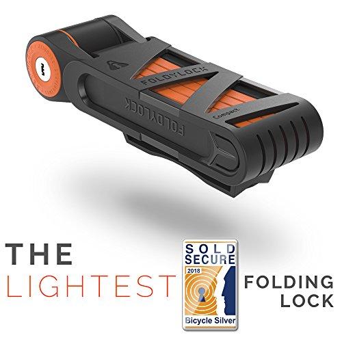 Lock Fold - FOLDYLOCK Compact Bike Lock Orange | Extreme Bike Lock - Heavy Duty Bicycle Security Chain Lock Steel Bars| Carrying Case Included| Unfolds to 85cm / 33.5